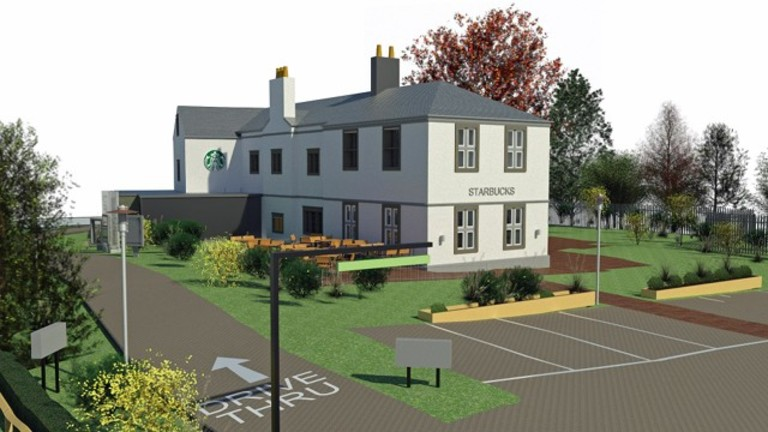 Carbrook Hall transformed into Starbucks drive-thru by Self in Sheffield