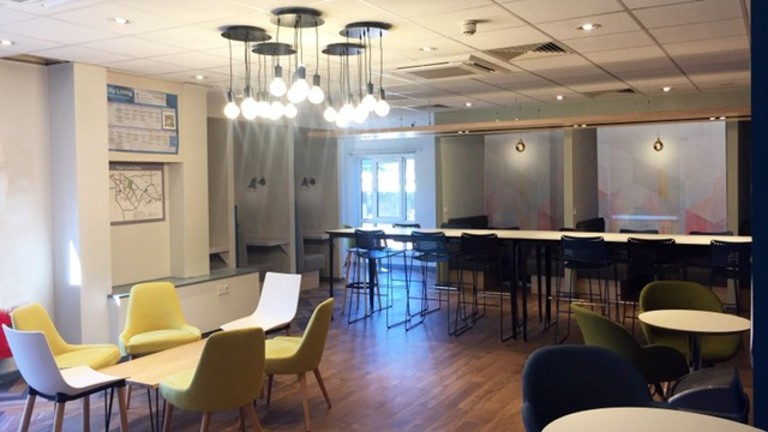 Social spaces designed by Self in refurbished iQ Student Accommodation at Opal Court, Leicester.
